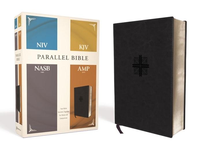 NIV, KJV, NASB, Amplified Parallel Bible, Black (Imitation Leather)