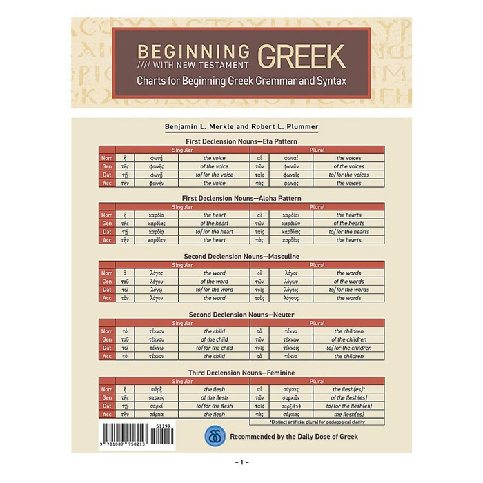 Charts for Beginning Greek Grammar and Syntax (Hard Cover)