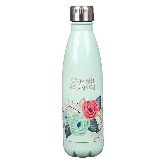 Strength & Dignity Floral Stainless Steel Water Bottle (General Merchandise)