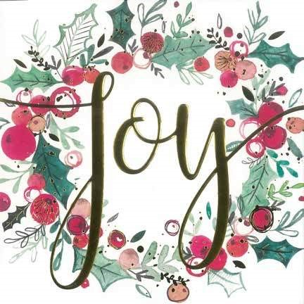 Christmas Cards: Joy Wreath (Pack of 4) (Cards)