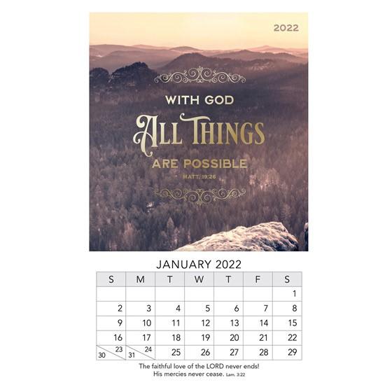 2022 Mini Magnet Calendar: Matthew 19:26 (Calendar)