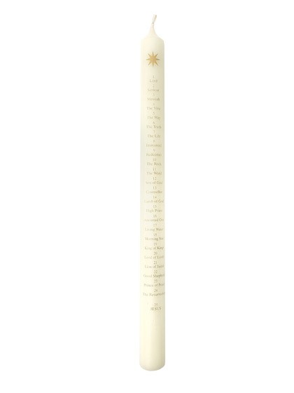 Advent Candle - Ivory - Names Of Jesus/Star - 30cm (General Merchandise)