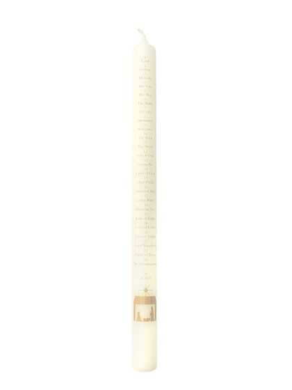 Advent Candle - Ivory - Names Of Jesus/Nativity - 30cm (General Merchandise)