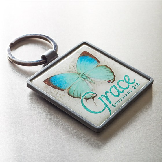 Butterfly Ephesians 2:8 Metal Keyring (Keyring)