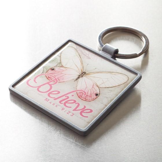 Butterfly Mark 9:23 Metal Keyring (Keyring)
