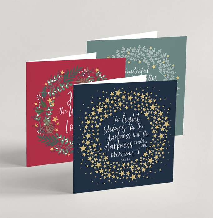 Mixed Square Christmas Cards (pack of 6) (Cards)