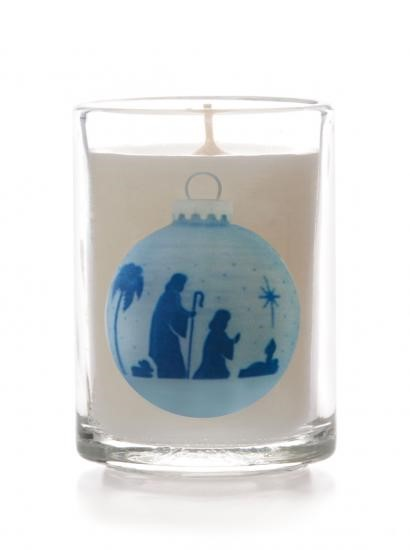 Joseph/Mary/Child Glass Non Scented Candle (Individual) (General Merchandise)
