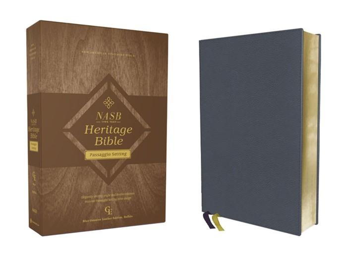 NASB Heritage Bible, Passaggion Setting, Blue (Genuine Leather)