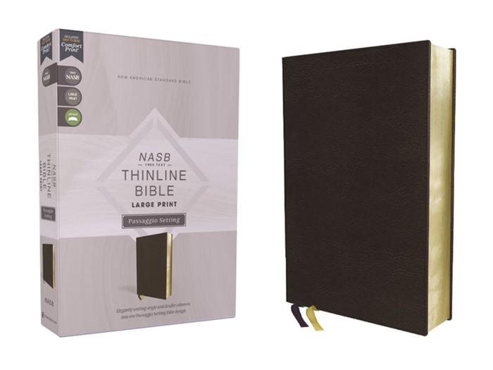 NASB Thinline Bible, Large Print, Passaggio Setting, Black (Imitation Leather)
