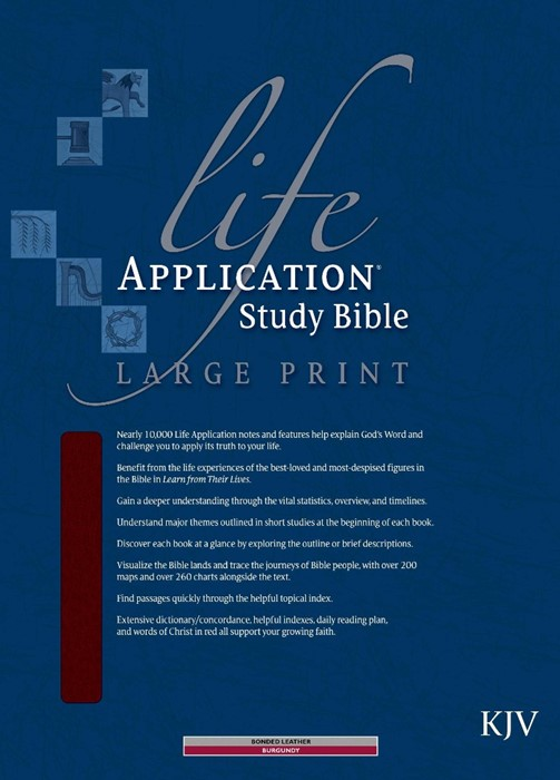 KJV Life Application Study Bible Large Print, Burgundy (Bonded Leather)