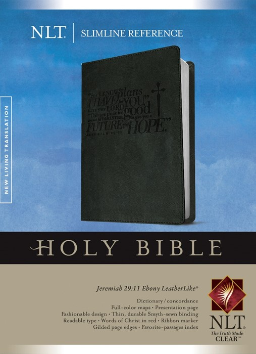 NLT Slimline Reference Bible, Ebony (Imitation Leather)