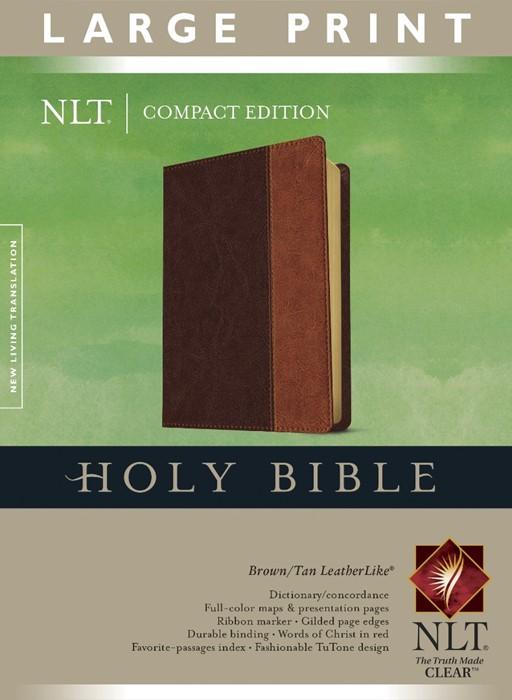 NLT Compact Edition Bible Large Print Tutone Brown/Tan (Imitation Leather)