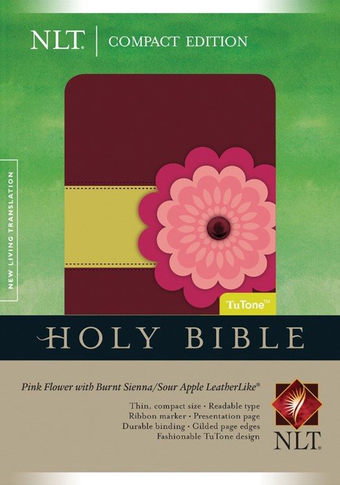 NLT Compact Bible Tutone Pink Flower (Imitation Leather)