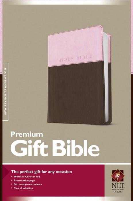 NLT Premium Gift Bible, Tutone, Pink/Dark Brown (Imitation Leather)