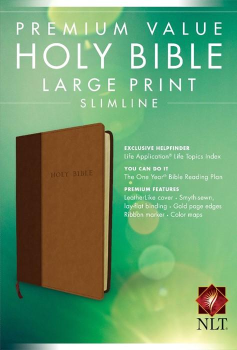 NLT Premium Value Large Print Slimline Bible, Brown/Tan (Imitation Leather)