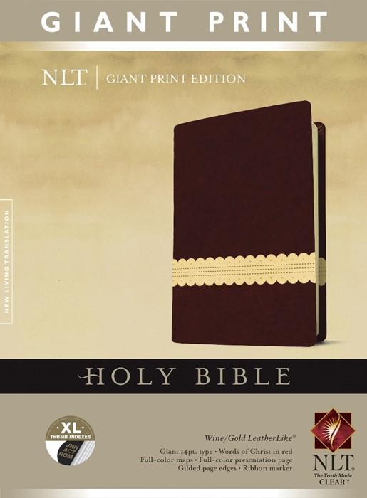 NLT Holy Bible, Giant Print, Wine/Gold, Indexed (Imitation Leather)