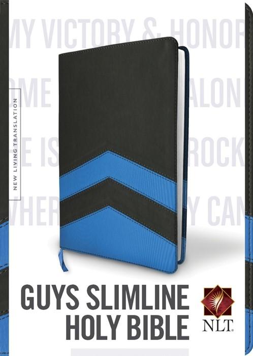 NLT Guys Slimline Bible Tutone Black/Blue Chevrons (Imitation Leather)