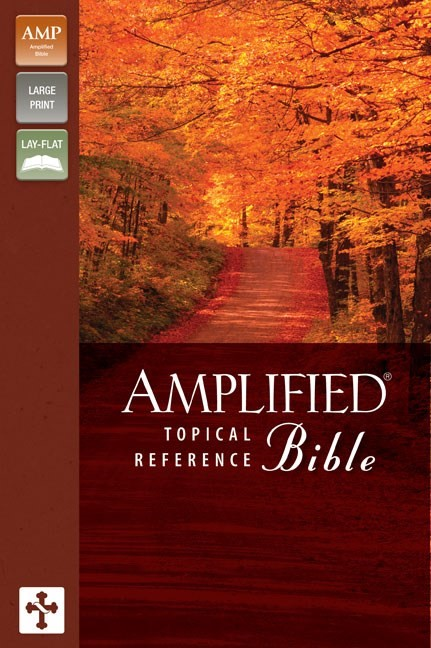 Amplified Topical Reference Bible, Tan-Burgundy (Leather-Look)