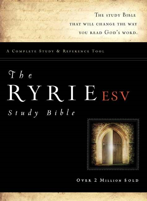 ESV Ryrie Study Bible Bonded Leather Black Red Letter In, Th (Leather Binding)