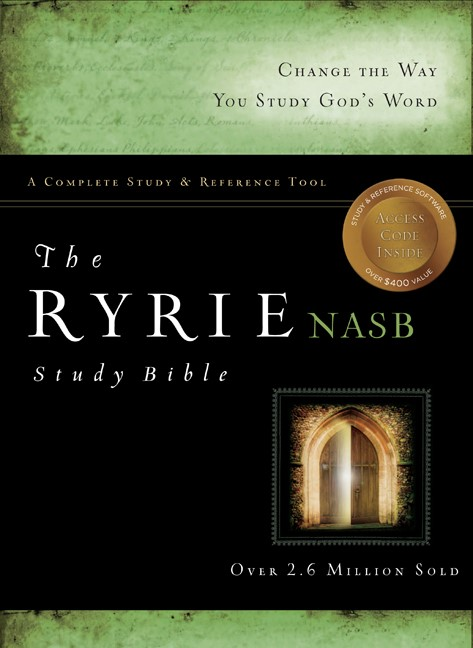 The NAS Ryrie Study Bible Genuine Leather Black Red Letter (Leather Binding)