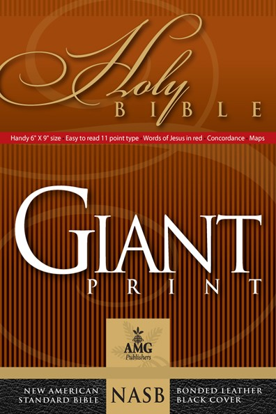 NASB Giant Print Handy-Size Reference Bible, Black (Leather Binding)