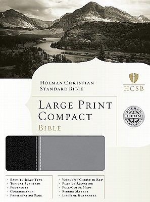HCSB Large Print Compact Bible, Black/Gray Leathertouch