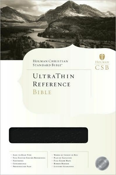 HCSB Ultrathin Reference Bible, Black Genuine Leather (Leather Binding)