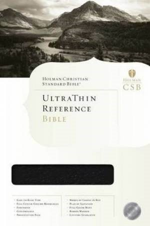 HCSB Ultrathin Reference Bible, Black, Indexed (Genuine Leather)