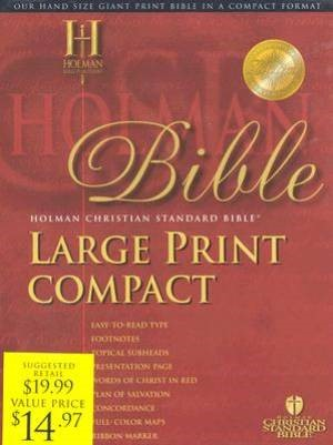 HCSB Large Print Compact Bible, Black Bonded Leather (Bonded Leather)