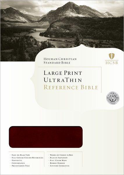 HCSB Large Print Ultrathin Reference Bible, Mahogany (Imitation Leather)