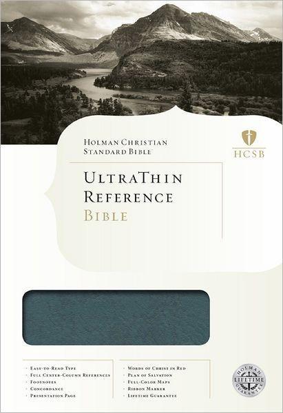 HCSB Ultrathin Reference Bible, Mantova Blue Leathertouch (Imitation Leather)