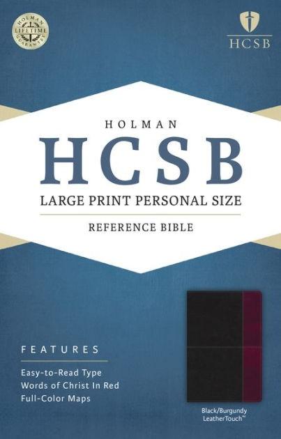 HCSB Large Print Personal Size Bible, Black/Burgundy (Imitation Leather)