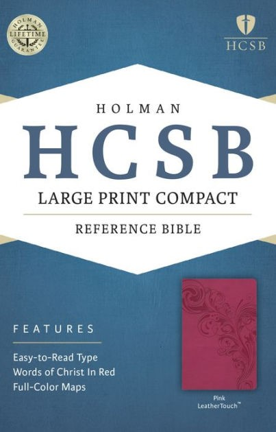HCSB Large Print Compact Bible, Pink Leathertouch (Imitation Leather)