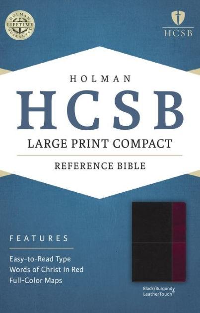 HCSB Large Print Compact Bible, Black/Burgundy (Imitation Leather)