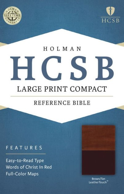 HCSB Large Print Compact Bible, Brown/Tan Leathertouch (Imitation Leather)