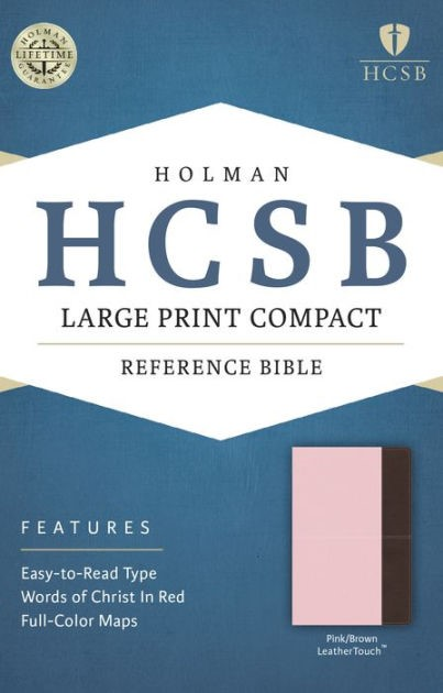 HCSB Large Print Compact Bible, Pink/Brown Leathertouch (Imitation Leather)