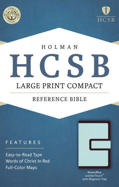HCSB Large Print Compact Bible, Brown/Blue Leathertouch With (Imitation Leather)