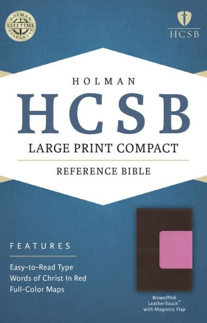 HCSB Large Print Compact Bible, Brown/Pink Leathertouch With (Imitation Leather)