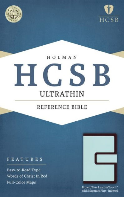 HCSB Ultrathin Reference Bible, Brown/Blue, Magnetic Flap (Imitation Leather)