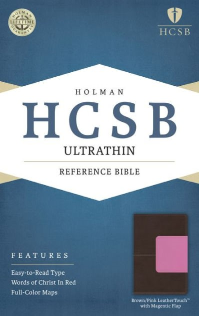 HCSB Ultrathin Reference Bible, Brown/Pink, Magnetic Flap (Imitation Leather)