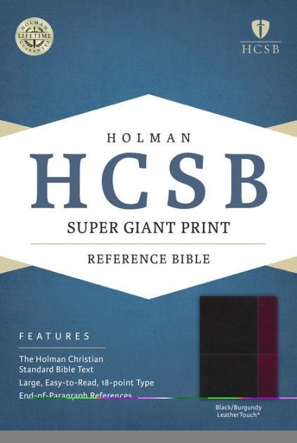 HCSB Super Giant Print Reference Bible, Black/Burgundy (Imitation Leather)