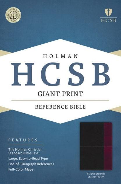HCSB Giant Print Reference Bible, Black/Burgundy (Imitation Leather)
