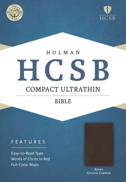HCSB Compact Ultrathin Bible, Brown Genuine Cowhide (Genuine Leather)