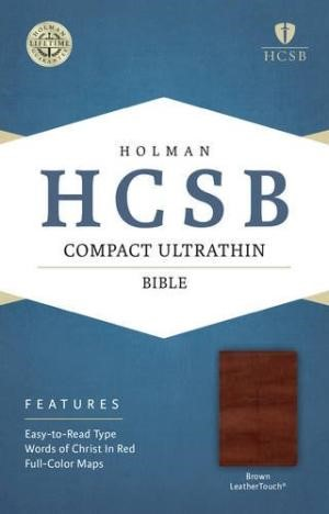 HCSB Compact Ultrathin Bible, Brown Leathertouch (Imitation Leather)