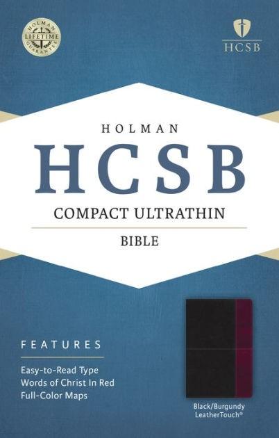 HCSB Compact Ultrathin Bible, Black/Burgundy Leathertouch (Imitation Leather)