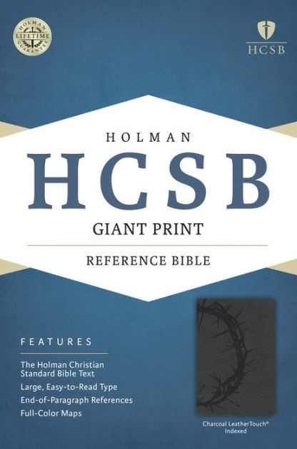 HCSB Giant Print Reference Bible, Charcoal, Indexed (Imitation Leather)