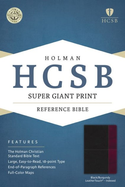 HCSB Super Giant Print Reference Bible, Black/Burgundy (Imitation Leather)