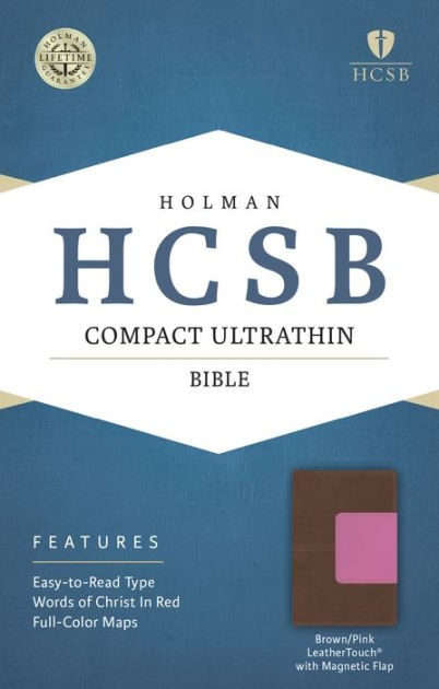 HCSB Compact Ultrathin Bible, Pink/Brown With Magnetic Flap (Imitation Leather)