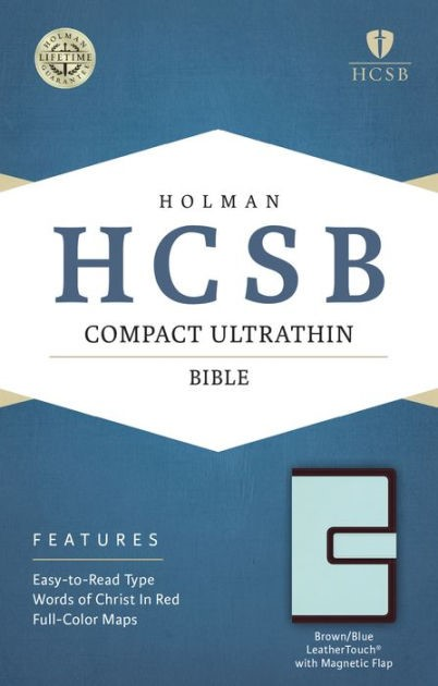 HCSB Compact Ultrathin Bible, Brown/Blue With Magnetic Flap (Imitation Leather)