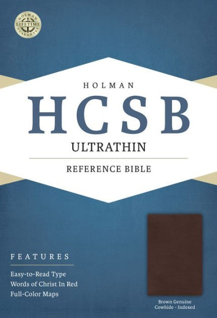 HCSB Ultrathin Reference Bible, Brown, Indexed (Genuine Leather)